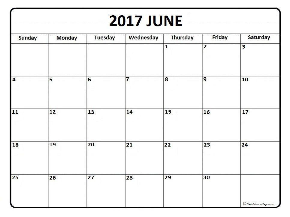 June calendar 2017 printable and free blank calendar   Printable ...