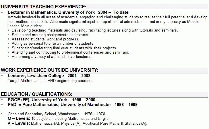 Cv template university lecturer