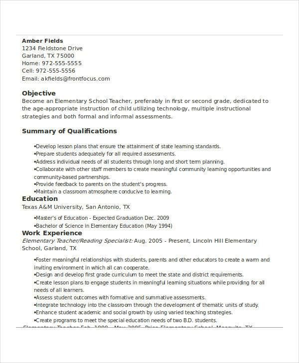 Basic Teacher Resumes -29+ Free Word, PDF Documents Download ...