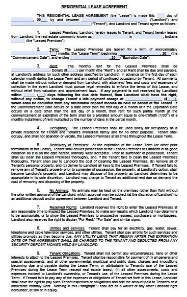 Free Indiana Residential Lease Agreement – PDF Template
