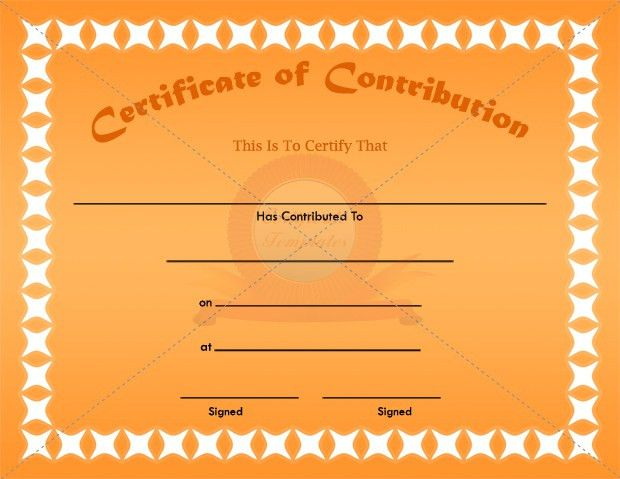 Contribution Certificate Template | CONTRIBUTION CERTIFICATE ...
