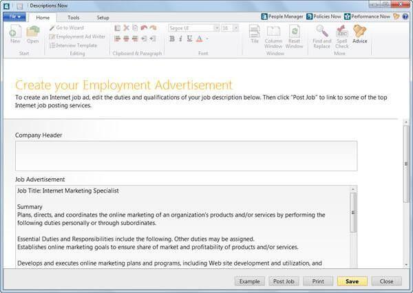 Job Description Writing Software | Create Job Descriptions ...