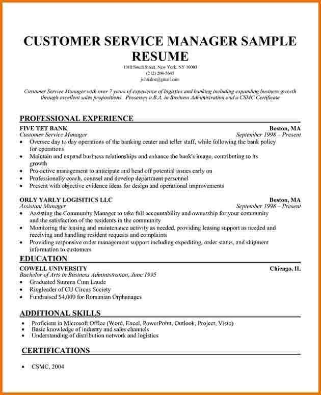 resume for service manager customer service manager resume