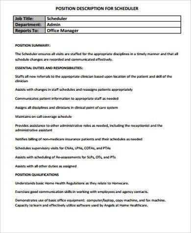Scheduler Job Description Sample   11+ Examples In Word, PDF