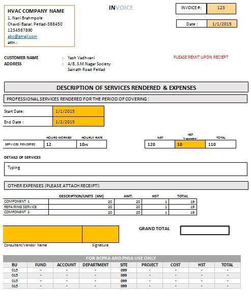 Download Hvac Invoice Template | rabitah.net