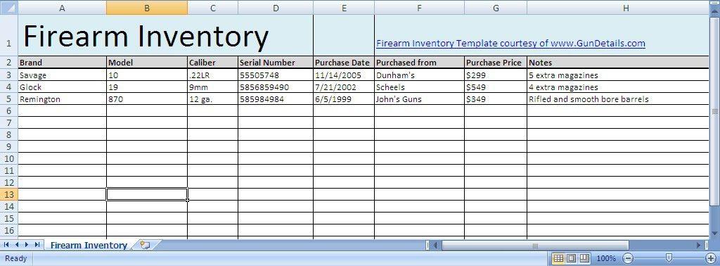 Free Gun Inventory Spreadsheet - Gun Details