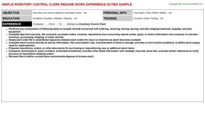 sample inventory control manager resume sample resume for ...