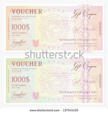 Voucher Gift Certificate Coupon Ticket Template Stock Vector ...