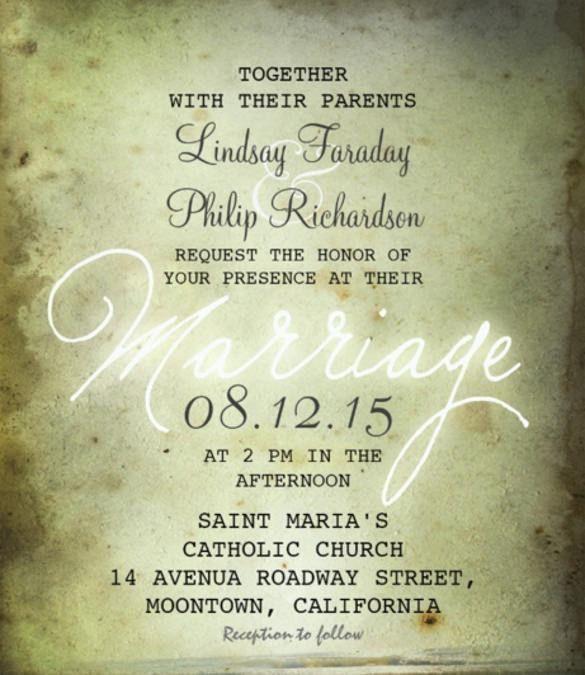 26+ Vintage Wedding Invitation Templates – Free Sample, Example ...