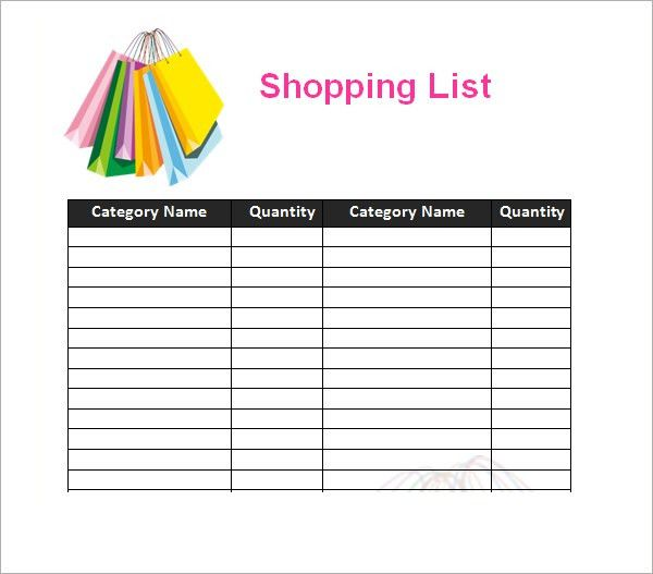 7 Shopping List Templates - Excel PDF Formats