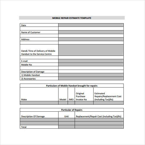 Estimate Template - 8+ Documents In PDF