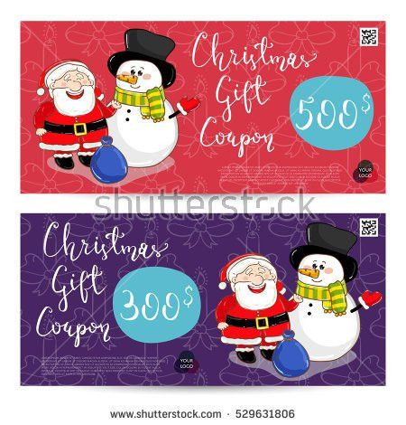 Christmas Gift Voucher Template Gift Coupon Stock Vector 529631728 ...