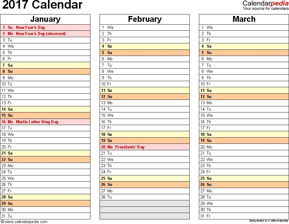 2017 Calendar - Download 17 free printable Excel templates (.xls)