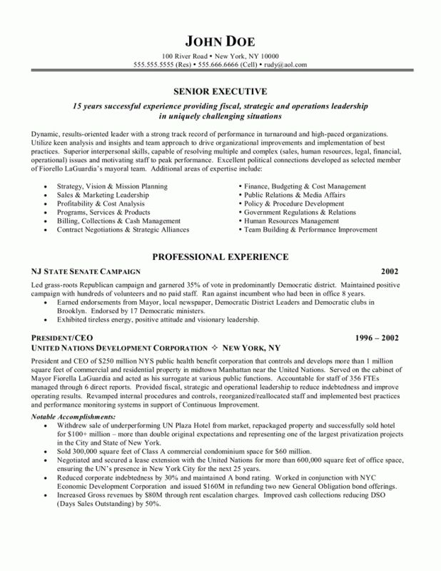 cover letter sample senior executive resume sample senior test ...