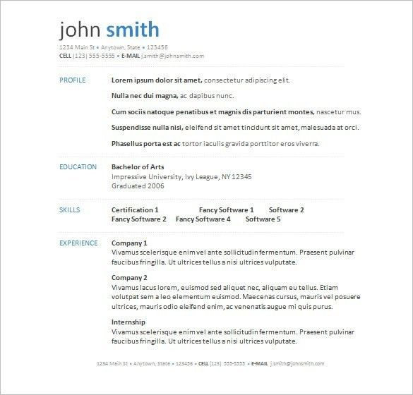 Word Resume Template Download   Template idea