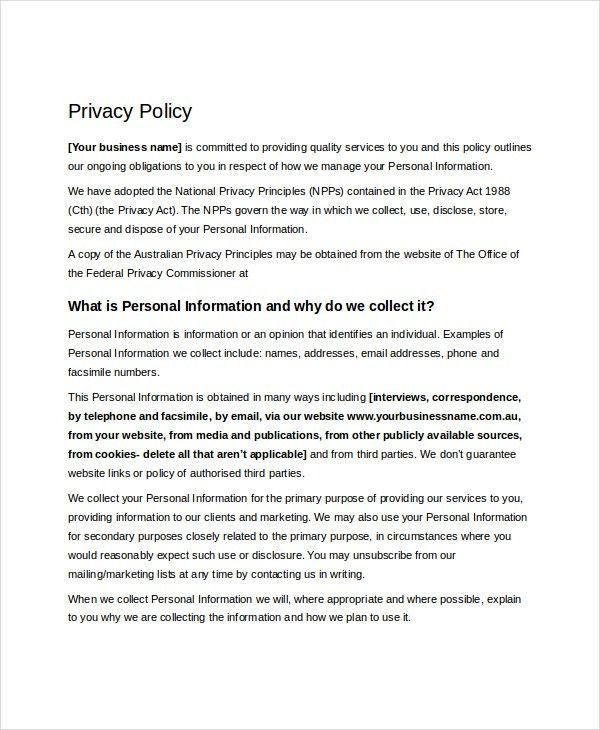 Sample privacy policy template termsfeed policy template 10 free word pdf document downloads free pronofoot35fo Images