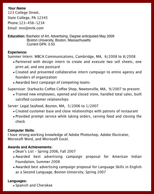 15 College Student Resume Samples No Experience | sendletters.info