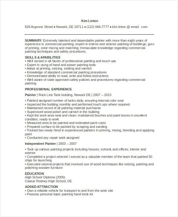 painter resume sample professional auto body painter templates to