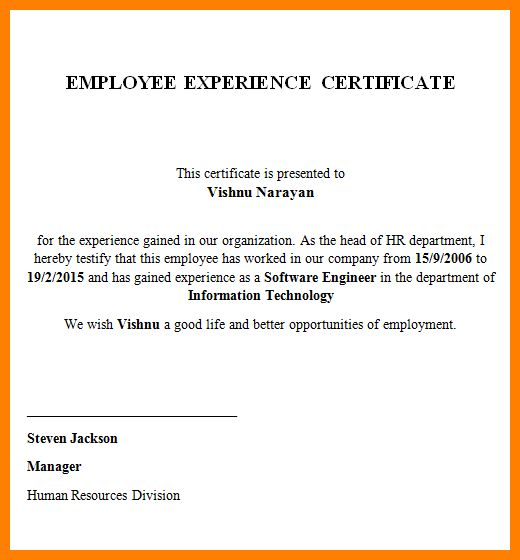 Samples of experience certificate work experience certificate 9 experience certificate sample resume emails yadclub Choice Image
