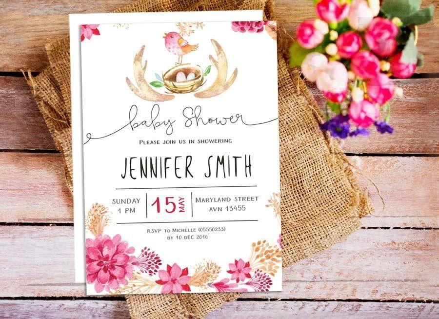 Woodland Bird Baby Shower Invitation, Floral Baby Shower ...
