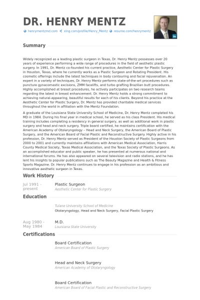 Plastic Surgeon Resume samples - VisualCV resume samples database