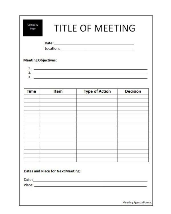 word document agenda template | Professional Templates
