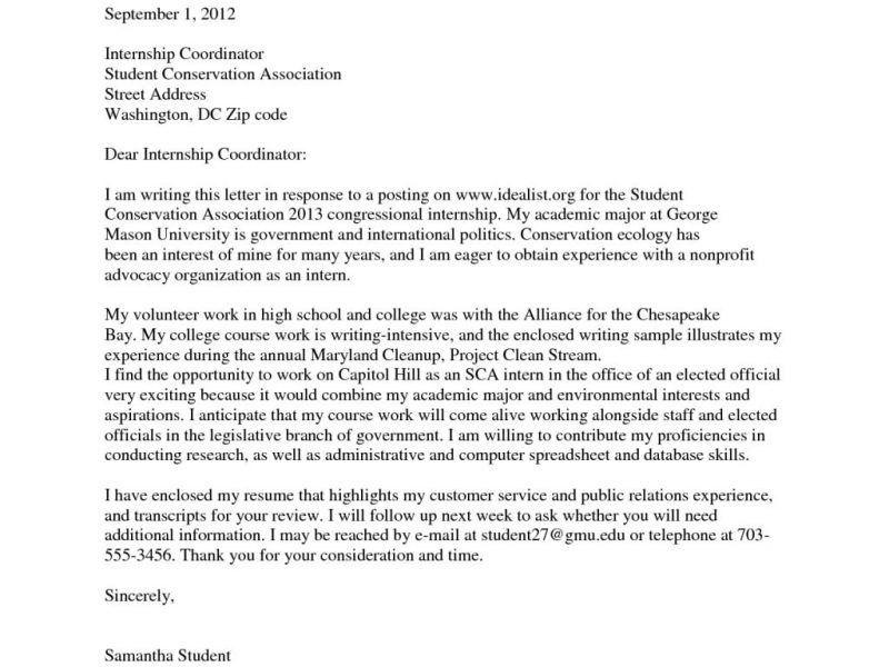 Cover Letter For Internship Examples - CV Resume Ideas