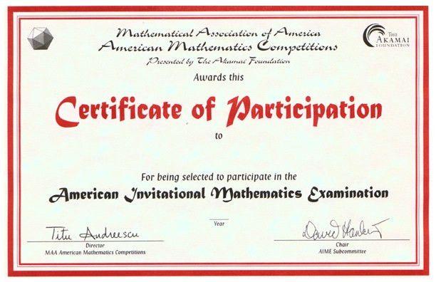 Awards for the AMC 10/AMC 12 Contests, AIME & USAMO Examinations ...