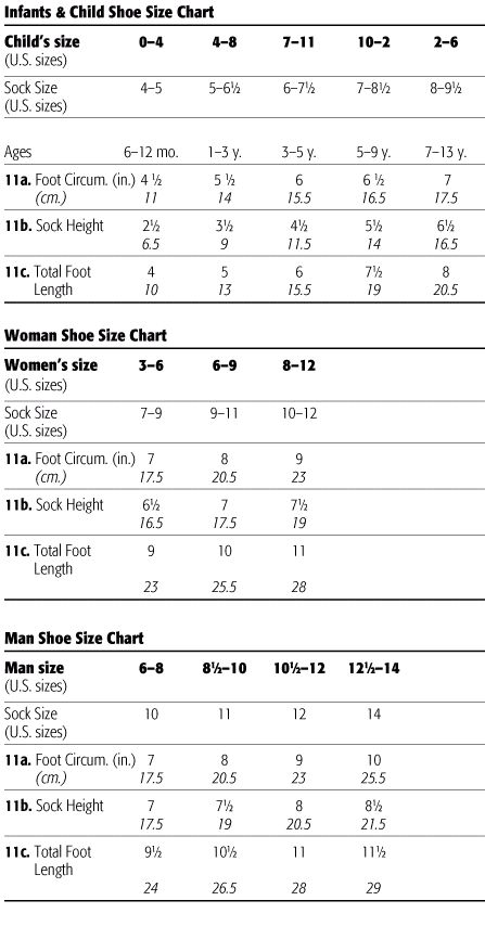Foot Size Chart | Welcome to the Craft Yarn Council