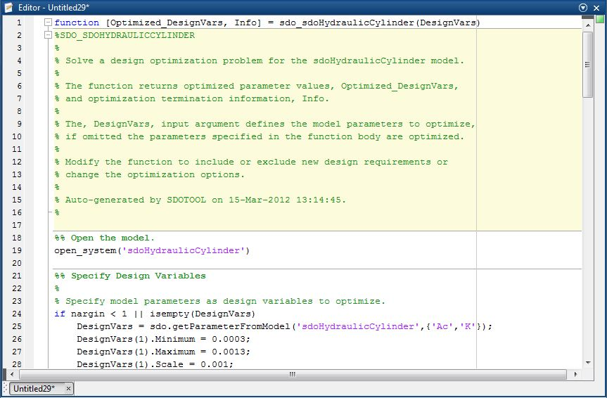 Generate MATLAB Code for Design Optimization Problems (GUI ...