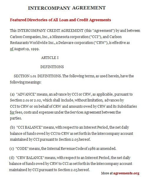 Excellent Intercompany Agreement Format Example Between Two ...