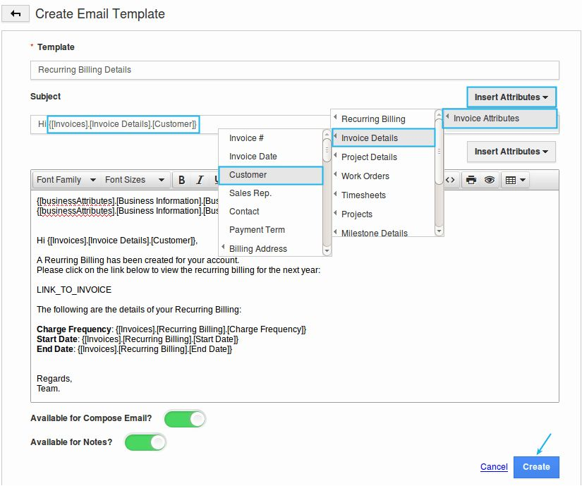 How do I Setup Custom Email Templates for my Invoices | Apptivo FAQ