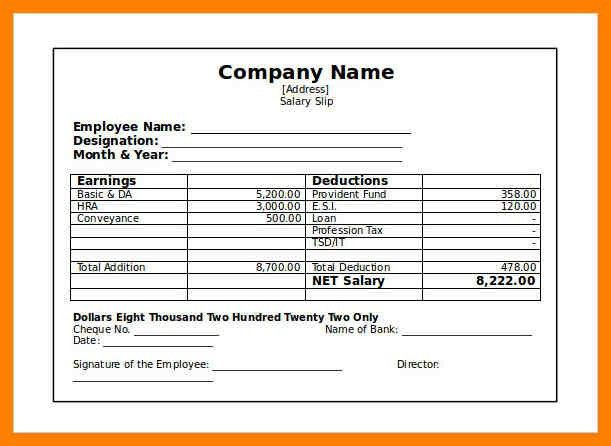 8+ salary slip format | childcare resume