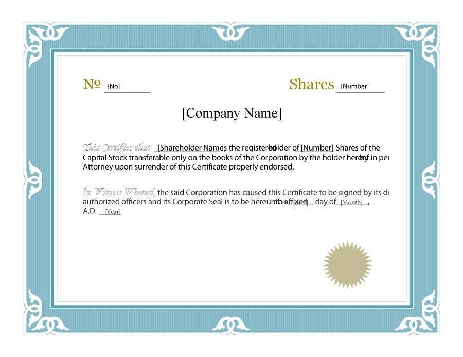 Template Stock Certificate. stock certificate template word free ...