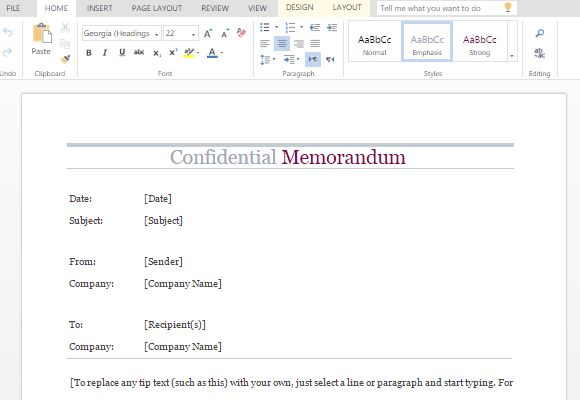 Confidential Memo Word Template