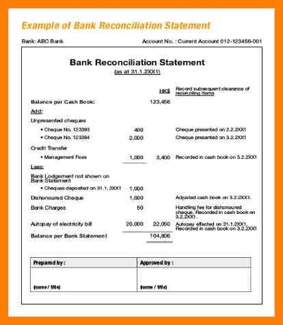 7+ bank reconciliation statement format in excel | joblettered