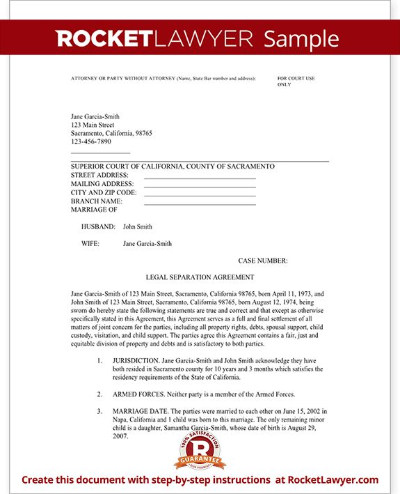 Legal Marriage Separation Agreement - Template with Sample