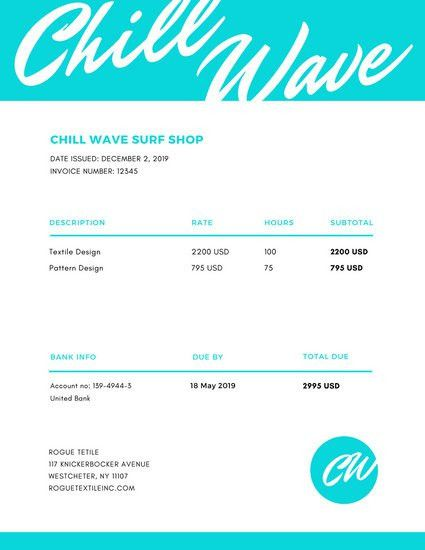 Turquoise Typography Tropical Vibe Invoice Letterhead - Templates ...