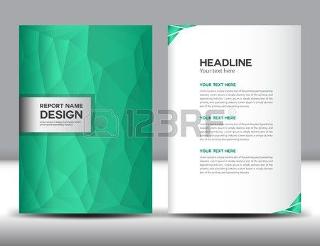 Green Cover Annual Report Template,polygon Background,brochure ...
