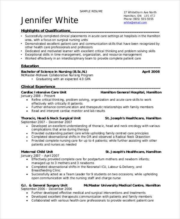 Sample Student Nurse Resume - Best Resume Collection