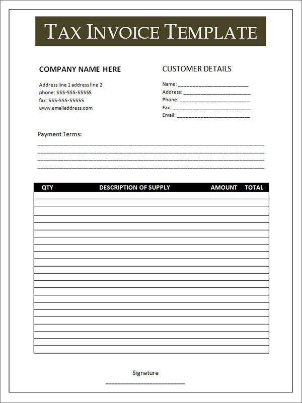 Free Tax Invoice Template Excel | invoice sample template