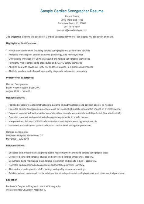 Cardiac Sonographer Resume Examples. resume. resume resume cv ...