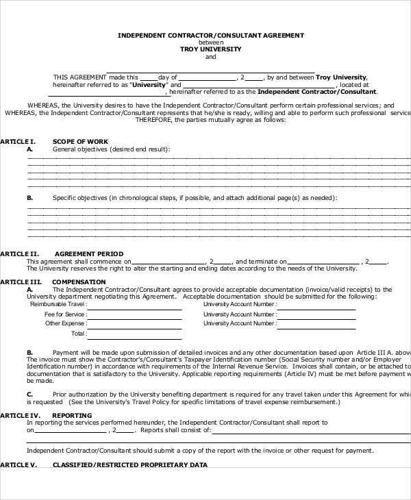 Independent Consulting Agreement. Sample Non-Disclosure Agreement ...
