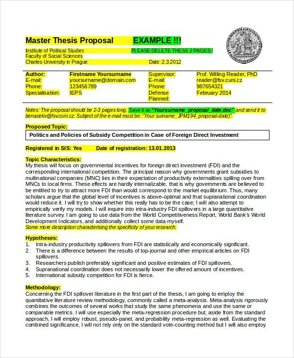 Thesis Proposal Template - 7+ Free Word, PDF Document Downloads ...