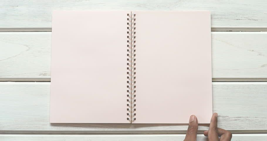 A Male Hand Open Diary Paper 3 Page On The White Wooden Desk, Top .  Diary Paper Template