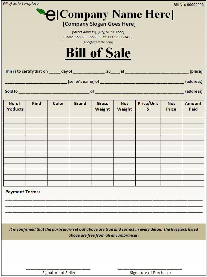 Bill of Sale Template - Best Word Templates