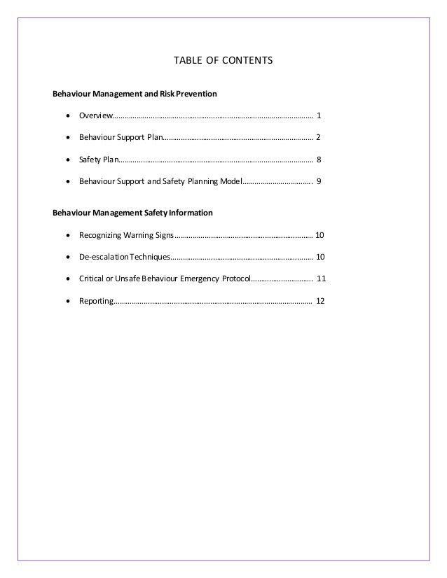 VECTIS BEHAVIOUR MANAGENT SAFETY TRAINING HANDBOOK