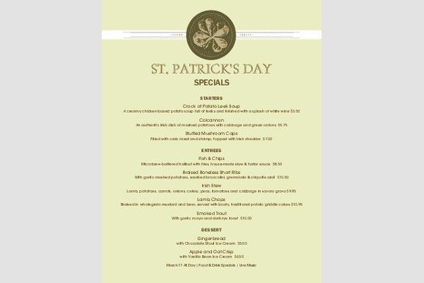 8+ St Patrick's Day Menu Templates | Free & Premium Templates