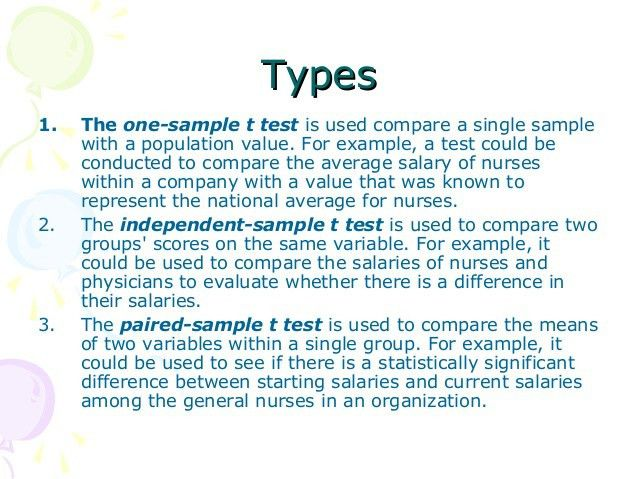T test statistics