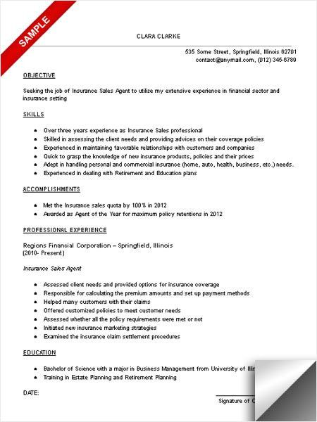 2016 Entry Level Insurance Agent Resume | RecentResumes.com